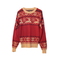 70s Vintage Reindeer Sweater  Red and Beige Studio One by Campus