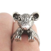 3D Chinchilla Mouse Shaped Animal Ring in Silver