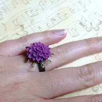 CLEARANCE - Deep Purple Flower Antiqued Ring