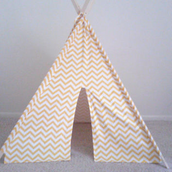 Yellow and White Chevron Teepee yellow Tent, Kids tent Made to Order
