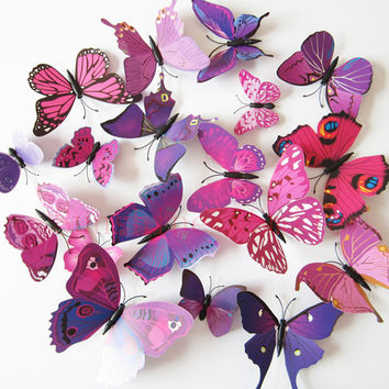 12Pcs=1 lot 3d Wall Sticker Stickers Butterflies Pegatinas de pared Art Animal Carton Rolly Wall Stickers Paper Room Decoration