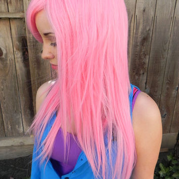Cotton Candy Cupcake /  Cotton Candy Pink / Long Straight Layered Wig