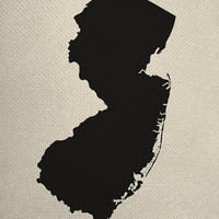 State of New Jersey Style Silhouette Graphic Iron On Tote Bag Pillow Sheet Transfer United States System Digital Collage  Download No. US13