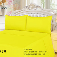 Tache 3 Piece Lemon Drop Yellow Bed sheet Set (King)(Flat Sheet)