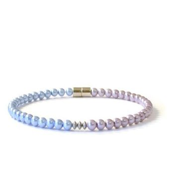 Lavender & Light Sapphire Pearl Magnetic Hematite Bracelet, Pain Relief Jewelry