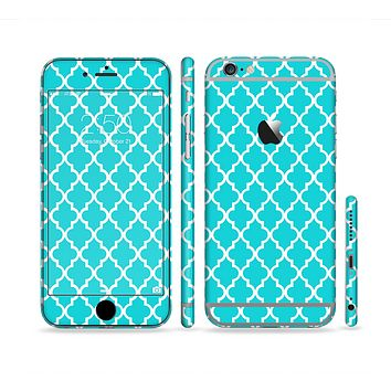 The Morocan Teal Pattern Sectioned Skin Series for the Apple iPhone 6 Plus