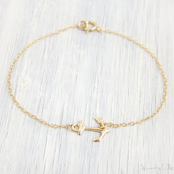 Petite Anchor Bracelet - Sideways Anchor Gold Filled Bracelet, Nautical Jewelry, Dainty Gold Bracelet, Simple Everyday, Bridesmaid Gift