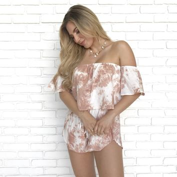 Work In Progress Mauve Off Shoulder Romper