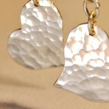 Silver heart earrings hammered texture  - ER224