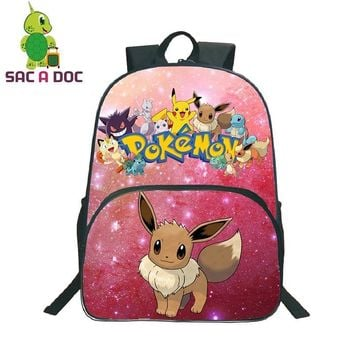 Galaxy Universe Space  Eevee Printing Children School Bags Teenager Girls Boys Shoulder Backpack Women Men Travel DaypackKawaii Pokemon go  AT_89_9