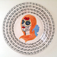 Catrina, Sugar Skull, Plate, La Muerte, Day of the Dead, Dia De Los Muertos, Mexican Folk Art, Decorative Plate, Jewelry Dish, Wedding, Gift