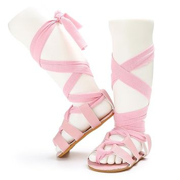 Newborn Fashion  Baby Summer Shoes Infant Toddler Girls Kids Bandage Roma Sandals Rubber Soled Boots Girls Sandals