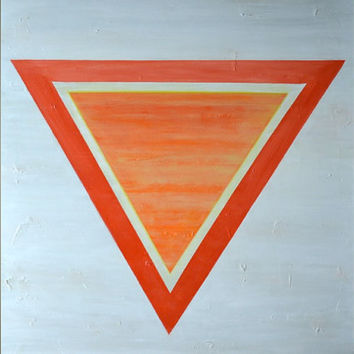 MASSIVE Original Abstract Modern Textured Painting- Red Orange Yellow Triangle Geometric Art- Large Canvas 36x36: Sun Chakra - FREE SHIPPING