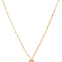 FOREVER 21 Rhinestone Tooth Pendant Necklace Gold/Clear One