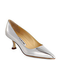 Manolo Blahnik - BB Specchio Metallic Leather Pumps - Saks Fifth Avenue Mobile