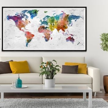 World Map Poster, Push Pin Travel World Map, Large Home & Office Decor, Colorful Detailed Map - L31