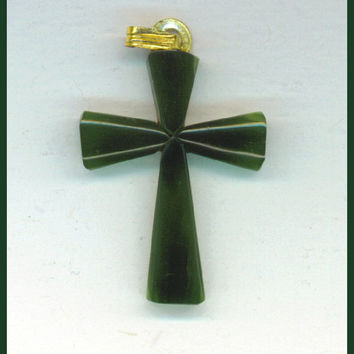 JADE CROSS Solid Irish Green Pendant Charm by TheMaineCoonCat