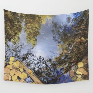 Forest reflections. Retro autumn Wall Tapestry by Guido Montañés