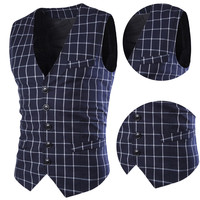 Deep Blue Plaid Button Detail Vest