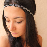 Black and silver headband headwrap by ThreeHeartZ on Etsy