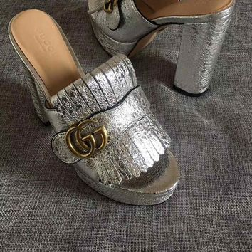 GUCCI Silver Women Fashion Casual Double GG solid buckle slippers Sandals Shoes