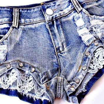 Hot Shorts 1pcs Womens Sexy Lace jeans denim  2018 Summer Fashion cotton Lace  Ladies Skinny low waist short pants jeans GirlsAT_43_3