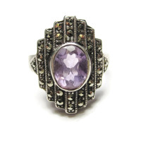 Amethyst Marcasite Ring Sterling Size 7