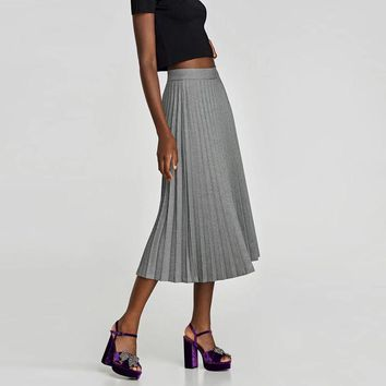 Women  Of Birds Grid Pleated Skirt Fashion Wild Big Women