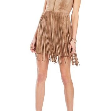 BCBGMAXAZRIA 'Hamiin' Fringe Faux Suede Sheath Dress | Nordstrom