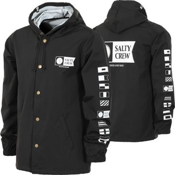Salty Crew Alpha Snap Coach Jacket - black - Free Shipping
