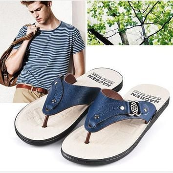 Flip Flops Men Beach Casual Fashion Brand 2017 Platform Leather Sandals Summer Slides Men Free Shipping Leisure Quality Hot Sale