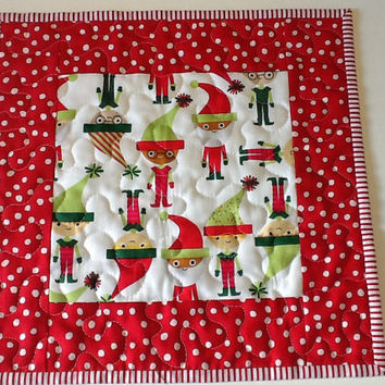 Santa and Elves Whimsical Mug Rug,  Christmas Candle Mat