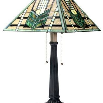 Green Arrow Mission Stained Glass Lamp 26H