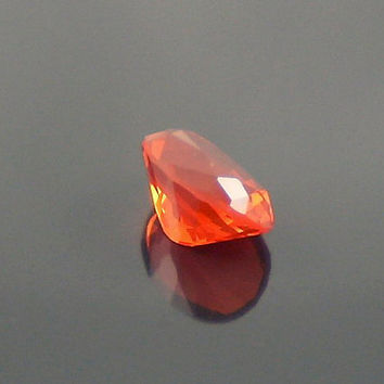 Fire Opal: 0.90ct Cherry Red Oval Shape Gemstone, Loose Natural Hand Made Mexican Faceted Precious Gem, OOAK Cut Crystal Jewelry Supply O20
