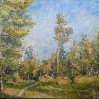 """Original Oil Painting Custom Landscape """"Morning in a Pine Forest"""" Impasto Forest Pinery Still Life Wall Decor Nature Hardboard Art Russian"""