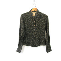 dark green floral shirt. button up blouse. cropped revival top. / size 6