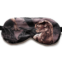 Dinosaur Sleep Mask, T-Rex Eye Mask, Blindfold for Boys Man Kid Child, Tyrannosaurus Rex, Jurassic Park, Satin Cotton Flannel or Knit Back