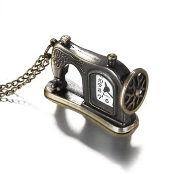 Fashion Necklace Pocket Watch Retro Antique Bronze Alloy Sewing Machine Design Watchs With Necklace Chain Best Gift  88 LL