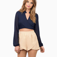 V-neck Long Sleeve Cropped Blouse