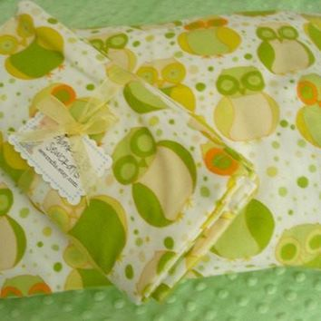 Gender Neutral Flannel Baby blanket and 12 in X 16 in Pillowcase - Approximately 42 in X 41 in