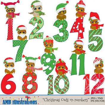 40% OFF Cute Christmas Owls and numbers design, vector graphics, digital clipart, instant download AMB-360
