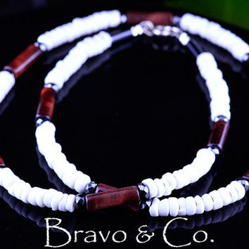 SN-100 Finely Made Shell, Hematite & Red Tigers Eye Choker Surf Men Necklace.