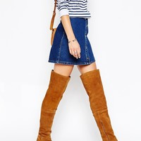 Park Lane Block Heeled Suede Over The Knee Boots