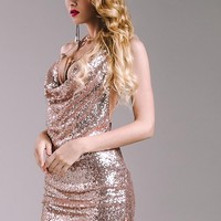 """Showgirl"" sequins drape front backless dress"