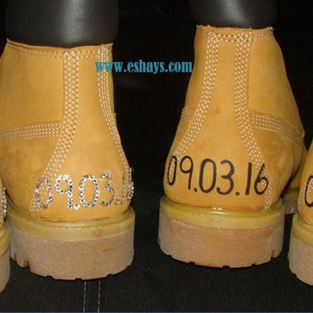 Custom Wedding Timberland Boots with Wedding Dates Painted on Back
