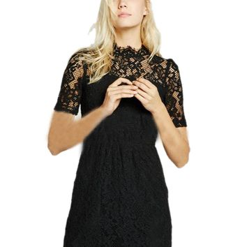 Gauze Circle Open Back See Through Hand Made Crochet Women Dress Black Lace Floral Embroidery Hollow Elegant Black Office Dress