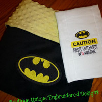 BATMAN BaBY BLANKeT & BurP CLoTH MiNKY EMBRoiDERED PERSONALiZED So SoFT SnuGGLY Baby Nursery SHoWER GiFT for your Little SUPeR HeRO ADORaBLE