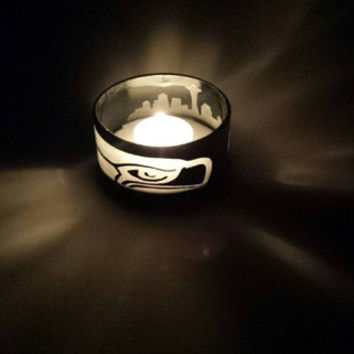 Seattle Seahawks candle holder