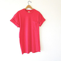 Vintage 90's RED Plain CRISP Fruit of the Loom Athletic POCKET 50/50 Blend T Shirt Sz Large