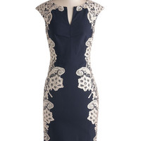 ModCloth Long Cap Sleeves Sheath Lakeside Libations Dress in Navy